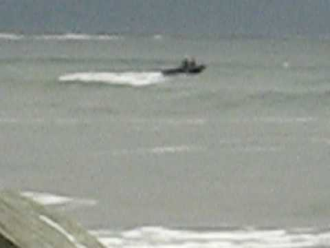 Boat bouncing in the waves of Nova Scotia