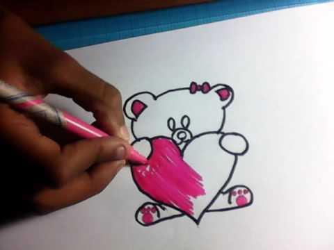 Apprendre a dessiner un nounours avec un coeur youtube - Comment dessiner un coeur ...