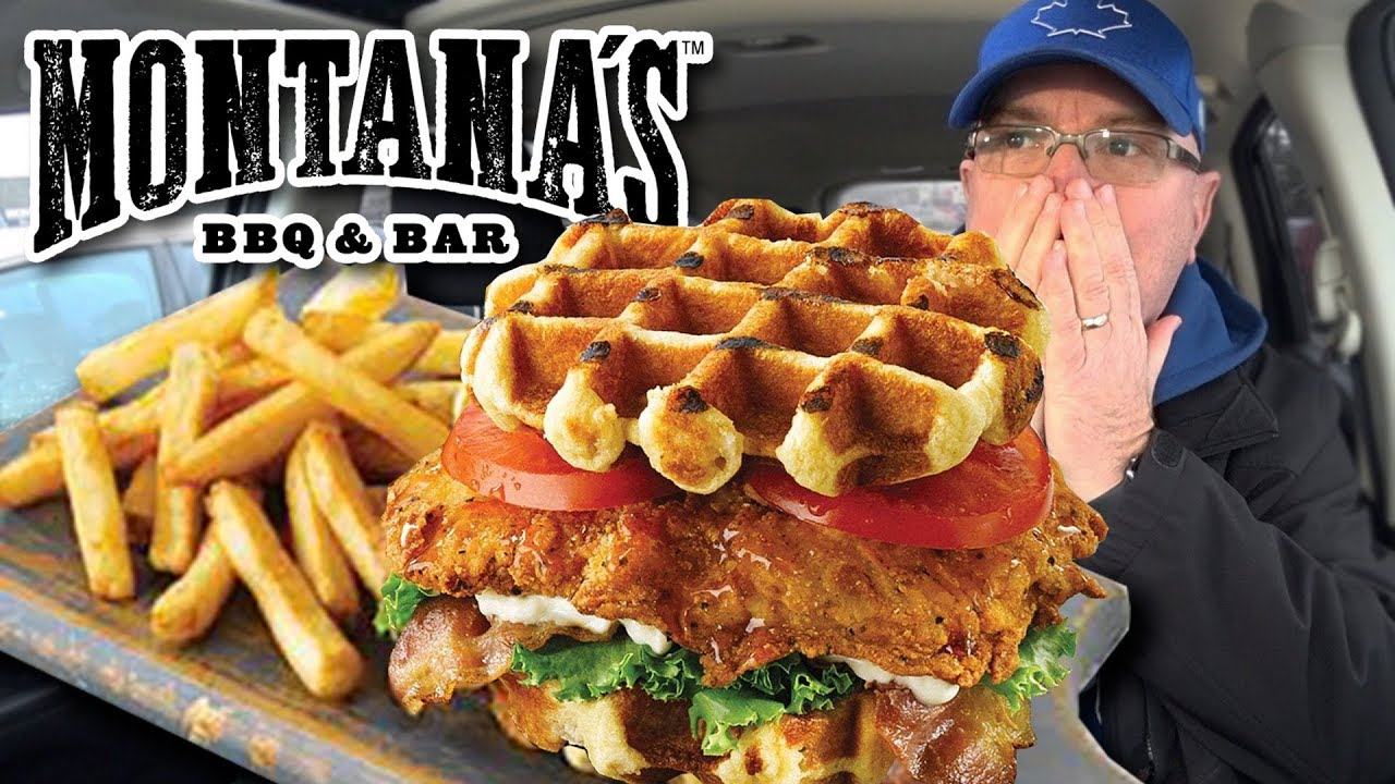 ???? ???? Chicken Waffle Club Sandwich from Montana's BBQ • Food Review