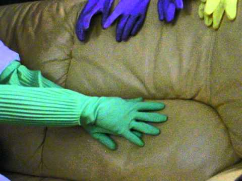 Playing With Green Long Rubber Gloves Asmr Youtube