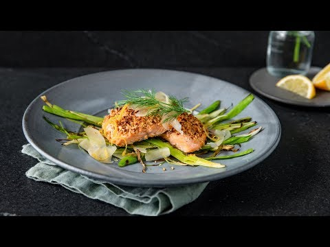 Almond-Crusted Salmon, Grilled Leeks & Dill