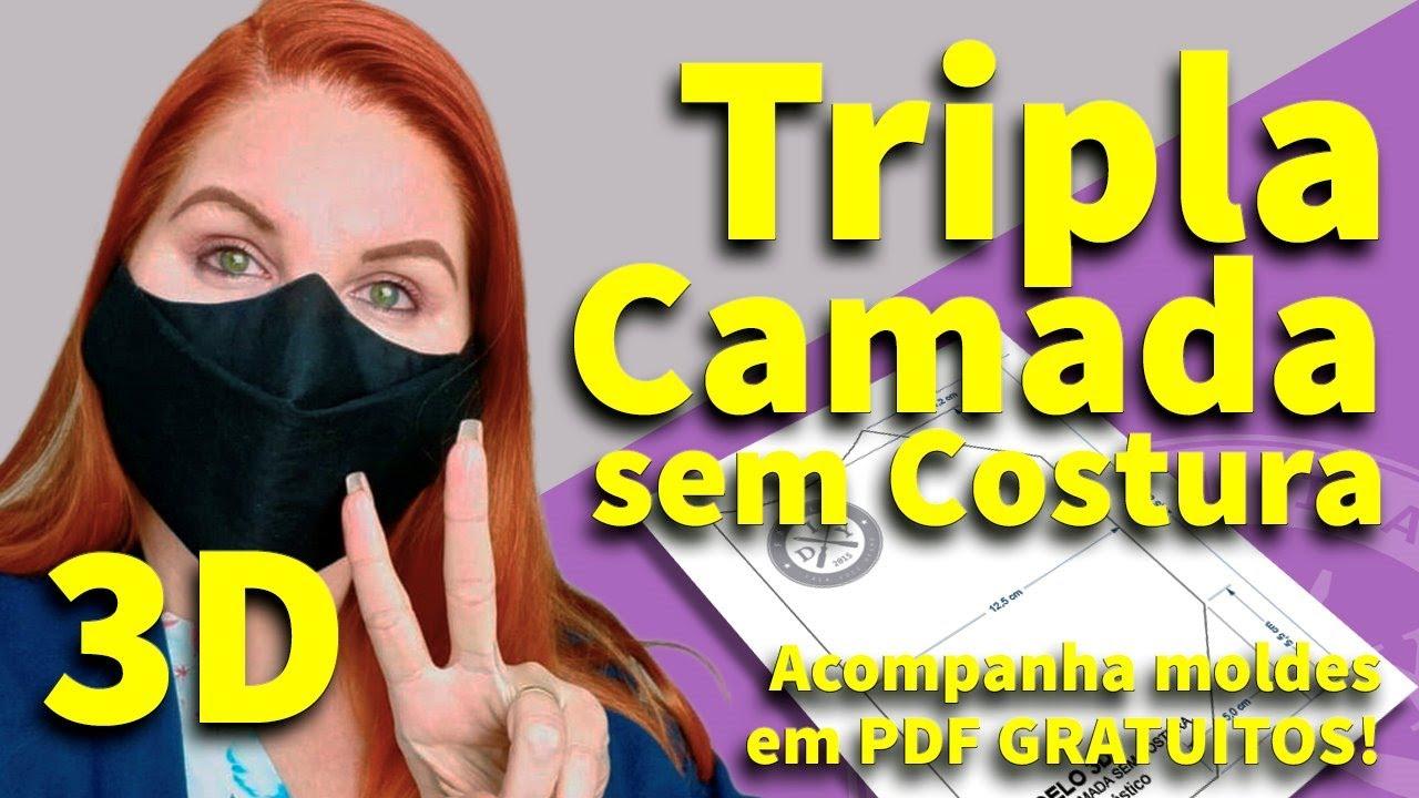 MÁSCARA DE PROTEÇÃO 3D SEM COSTURA CAMADA TRIPLA - FAMÍLIA DIY