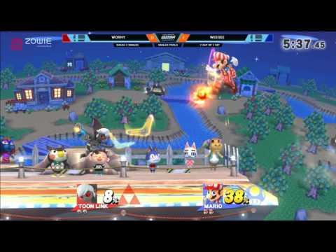 DHA 2017 SSB4 - Wormy (Toon Link) Vs. Weegee(Mario) Smash 4 - Smash Wii U