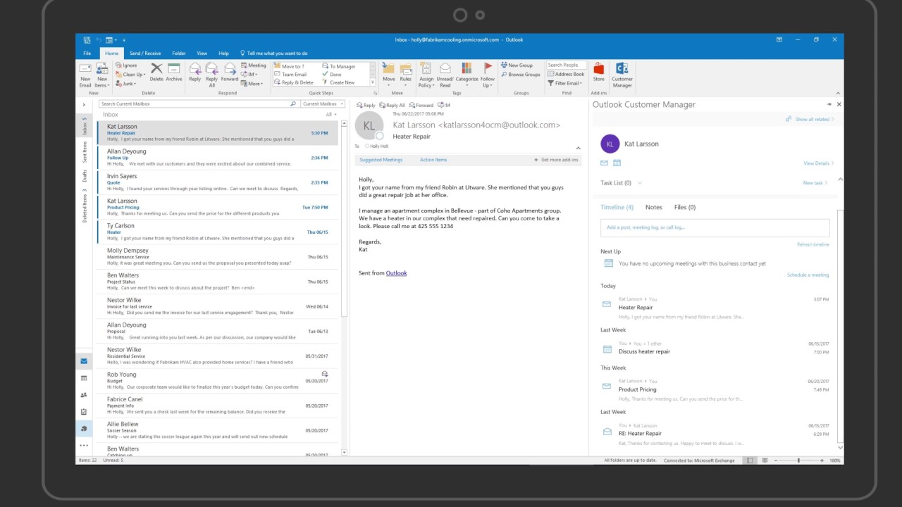 Outlook Customer Manager - Creating business contacts