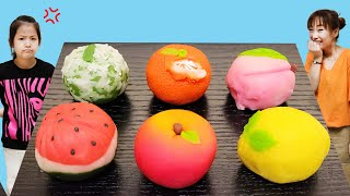 과일과자를 만든다고? 서은이의 화과자 먹방 엄마의 클레이 과일 만들기 장난 레몬 수박 사과 Making Fruits Cake Snake Joke Seoeun Story