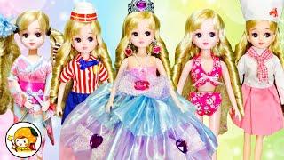 リカちゃん プリンセスがモデルの撮影★ 着せ替えしてカメラで写真❤ お城のお姫様が水着や浴衣に変身★ おもちゃ ここなっちゃん