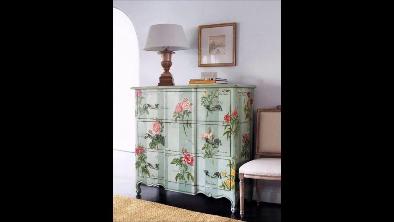 Decorar muebles con papel pintado t cnica d coupage youtube - Muebles decorados a mano ...