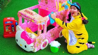 Car Wash Song Nursery Rhymes with Hello Kitty Bus