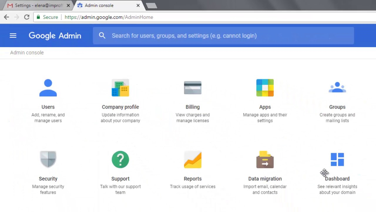 Enable email and contacts migration in G Suite