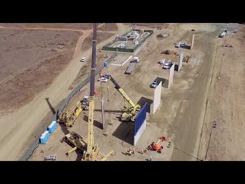 Border Wall Prototype Construction Aerial B-Roll 10/17/17