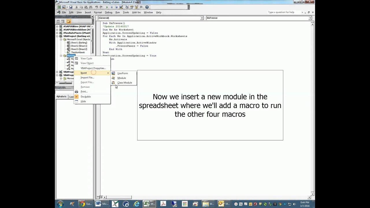 Excel Macro to Run Other Macros - YouTube