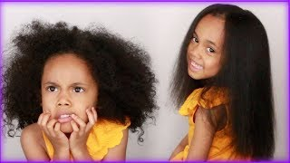 FIRST TIME Straightening my 5 Year Old's Curly Hair! NO HEAT DAMAGE