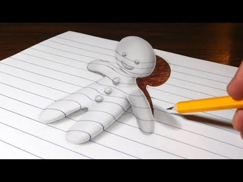 Thumbnail: Gingerbread Man Optical Illusion Drawing - 3D Trick Art on Line Paper