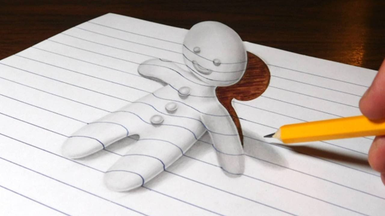 Gingerbread Man Optical Illusion Drawing Trick Art