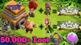 Top 2 clash of clans town hall 4 attack strategies||COC TH4 best attack stratgies for trophies +loot