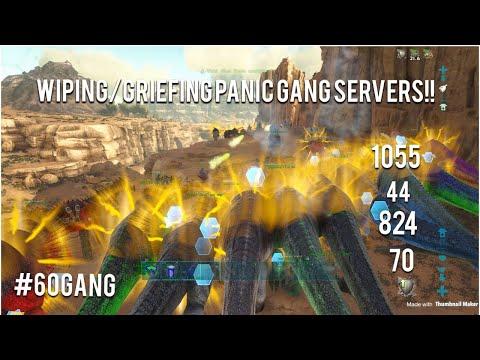ARK: WIPING/GRIEFING MULTIPLE PANIC GANG SERVERS!!