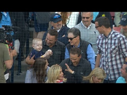 Maverick gets a foul ball, meets Big Papi