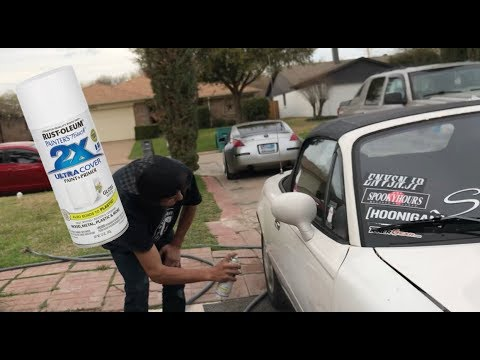 FIXING THE MIATA'S SCRATCHES WITH SPRAY PAINT!! HOW NOT TO DO IT!