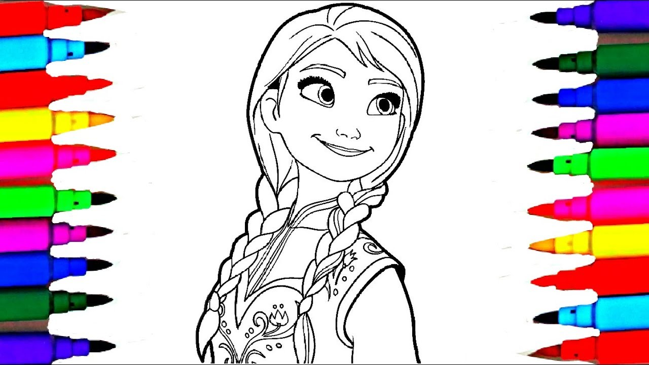 Rainbow Learning Disney Frozen Anna And Moana Coloring Pages Kids Drawing