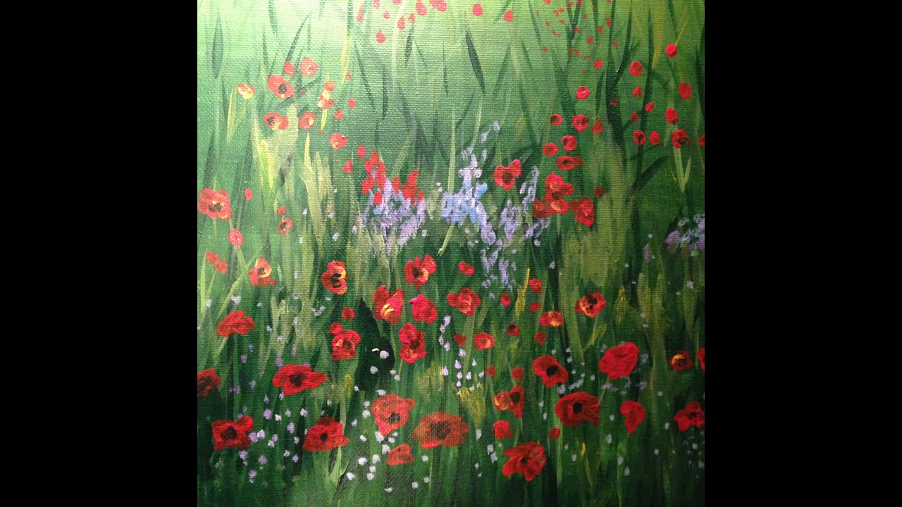 Easy Field Of Poppies Acrylic Painting Youtube