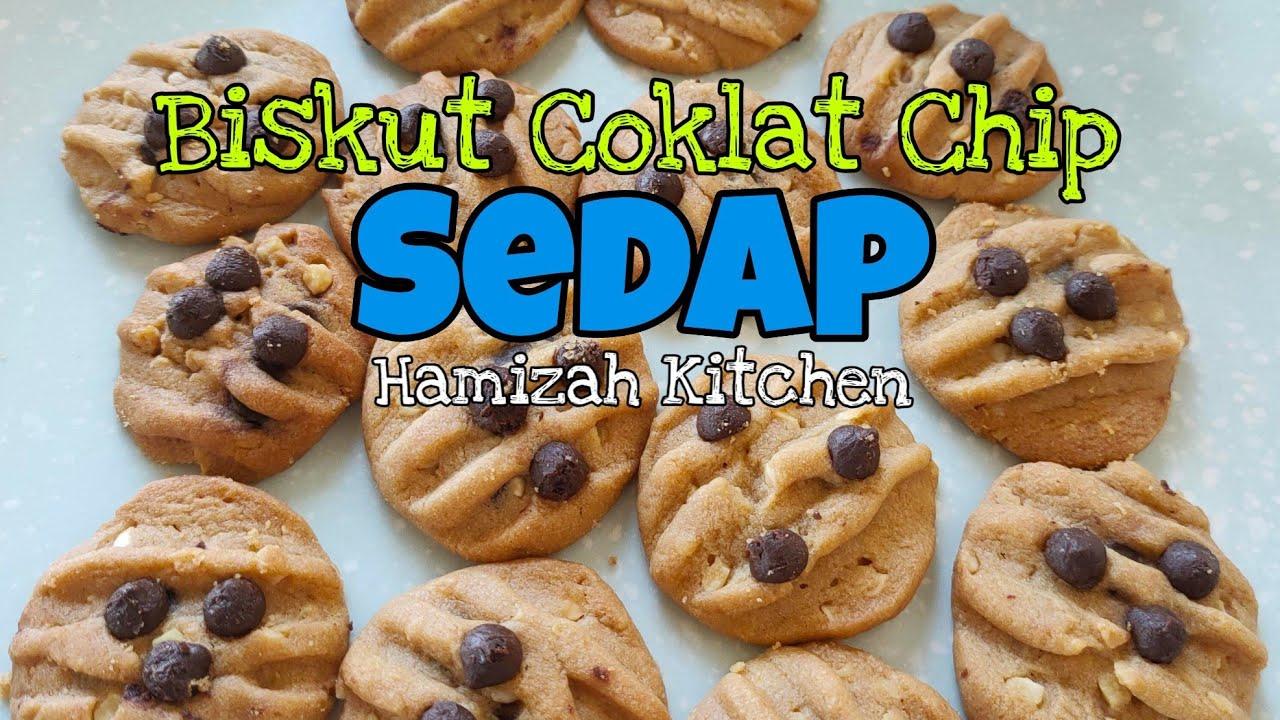 Resepi Biskut Coklat Chip & Badam Sedap Simple Dan Mudah / Hamizah Kitchen - YouTube