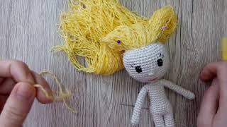 """Как сделать волосы вязаной кукле из пряжи: способ """"наращивания"""" локонов"""