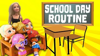 LOL Doll School Day Routine Starring Ultra Rare Queen Bee, Barbie and Hatchimals Part One!