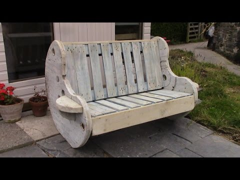 DIY Garden Bench Project - Pallet and Cable Reel Furniture