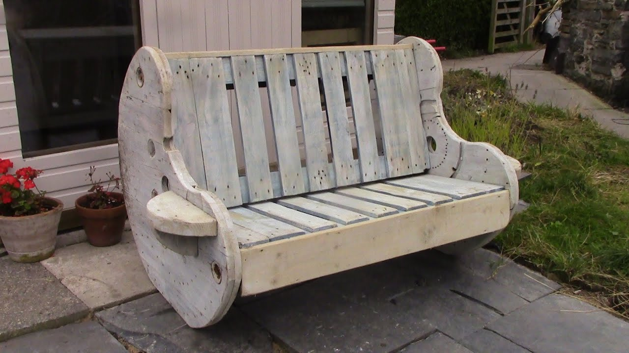 DIY Garden Bench Project   Pallet And Cable Reel Furniture   YouTube