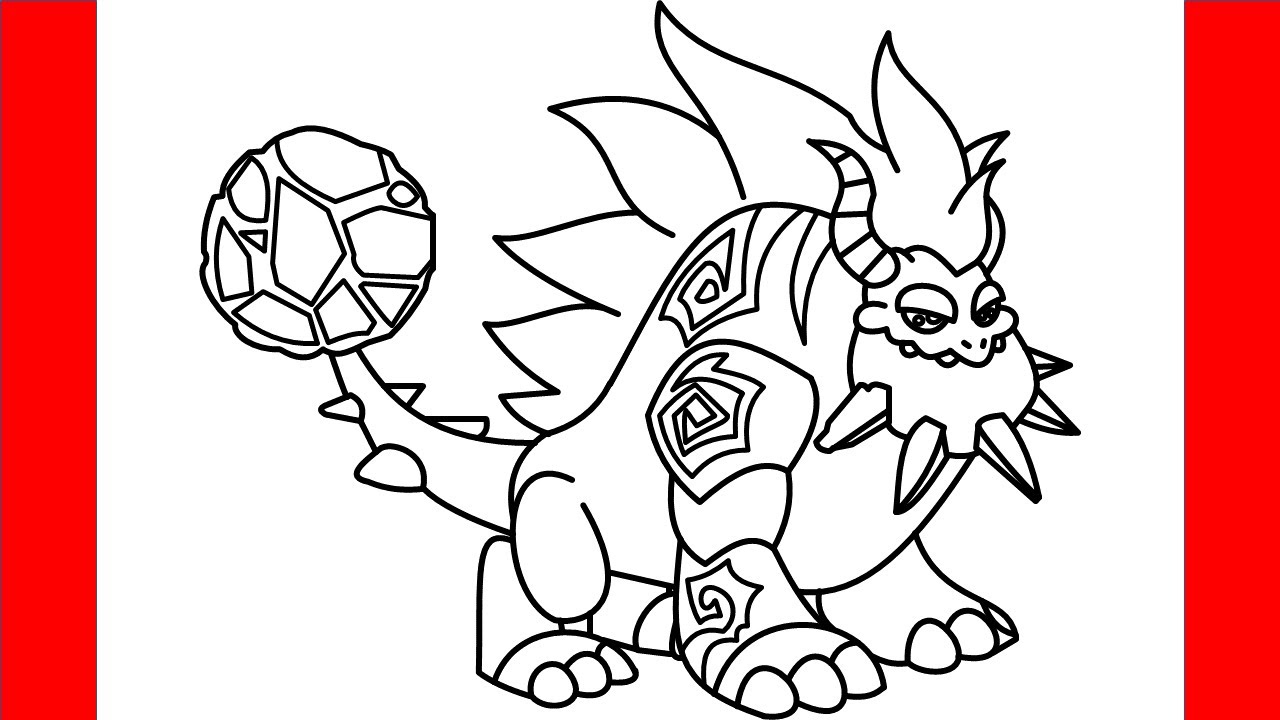 How To Draw Terra Dragon From Dragon City - Step By Step Drawing
