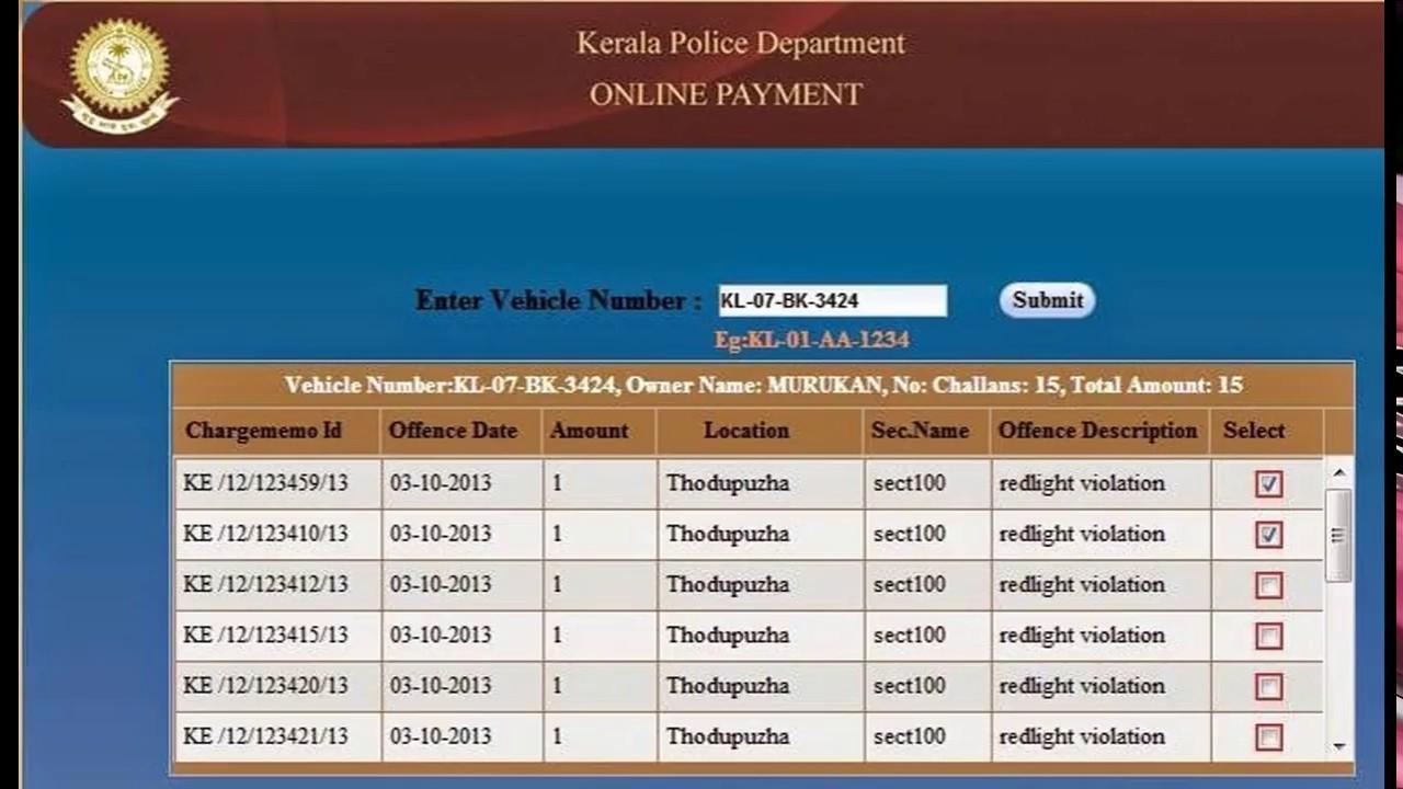 kerala rto vehicle information