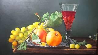 Рисуем виноград, яблоки, стакан - многослойная #живопись (часть1)