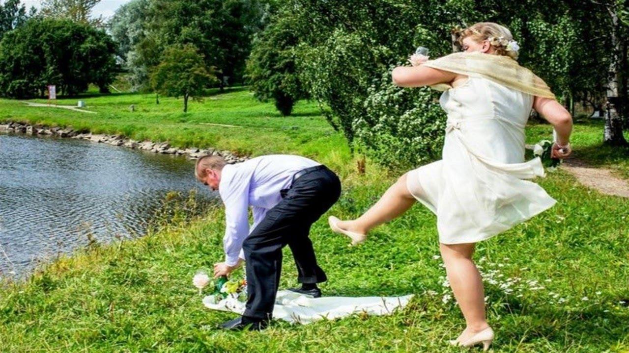 Свадебные фотографии жениха и невесты смешные