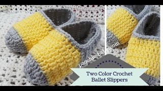 Two Color Crochet Ballet Slippers