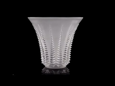 Antique 20thc French Rene Lalique Large Font Romeu Glass Vase C