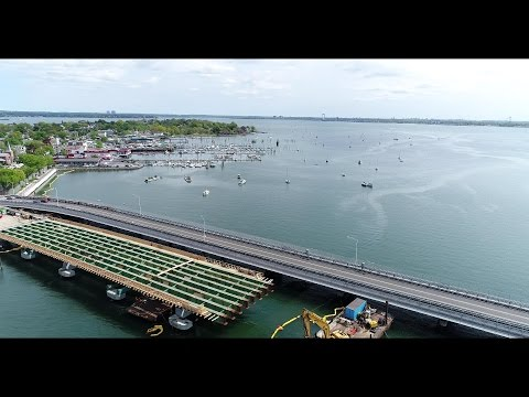 Aerial View of City  Island and New City Island Bridge P.2 in 4K