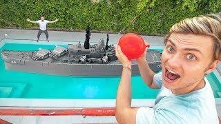 PLAYING BATTLESHIP IN MY POOL!!