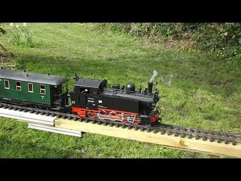 LGB Saxon 0-10-0 VIK - start up and brake sounds and smoke.