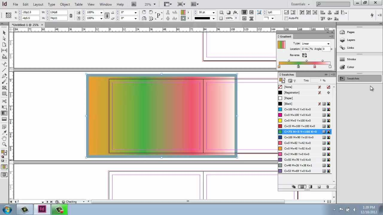 how to make a gradient colour in idesign