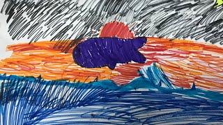วาดรูป ปลาวาฬ กำลังกระโดดขึ้นจากน้ำ, Drawing a whale jumping from the water