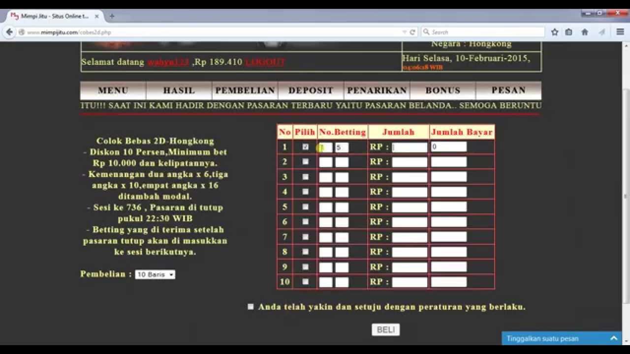 Panduan Pembelian Colok Bebas 2D / Colok Macau dengan Bandar Togel Online  Terpercaya Mimpijitu.com - YouTube