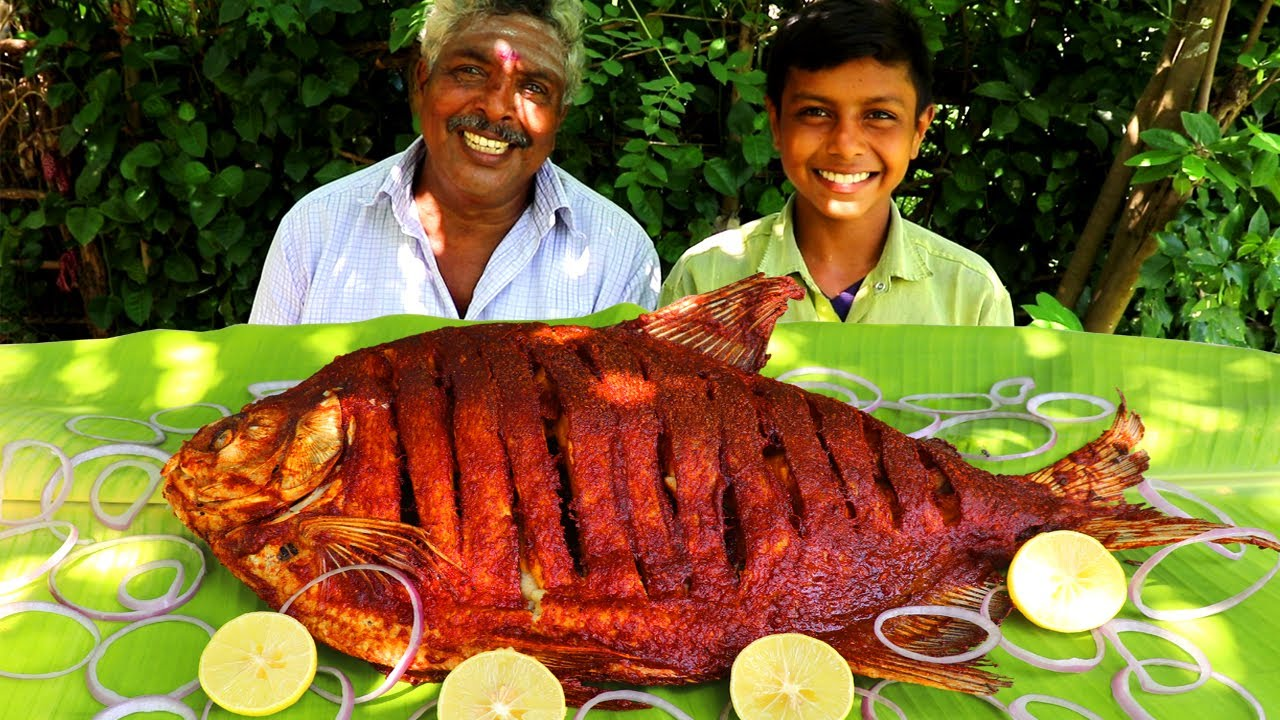 3 KG FISH FRY EATING | WHOLE FISH FRY COOKING AND EATING | POMFRET FISH FRY EATING IN VILLAGE