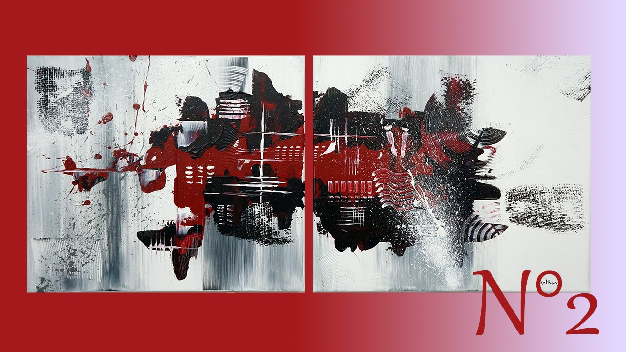 TABLEAU ABSTRAIT EN ROUGE ET NOIR - Anthony Painting - YouTube
