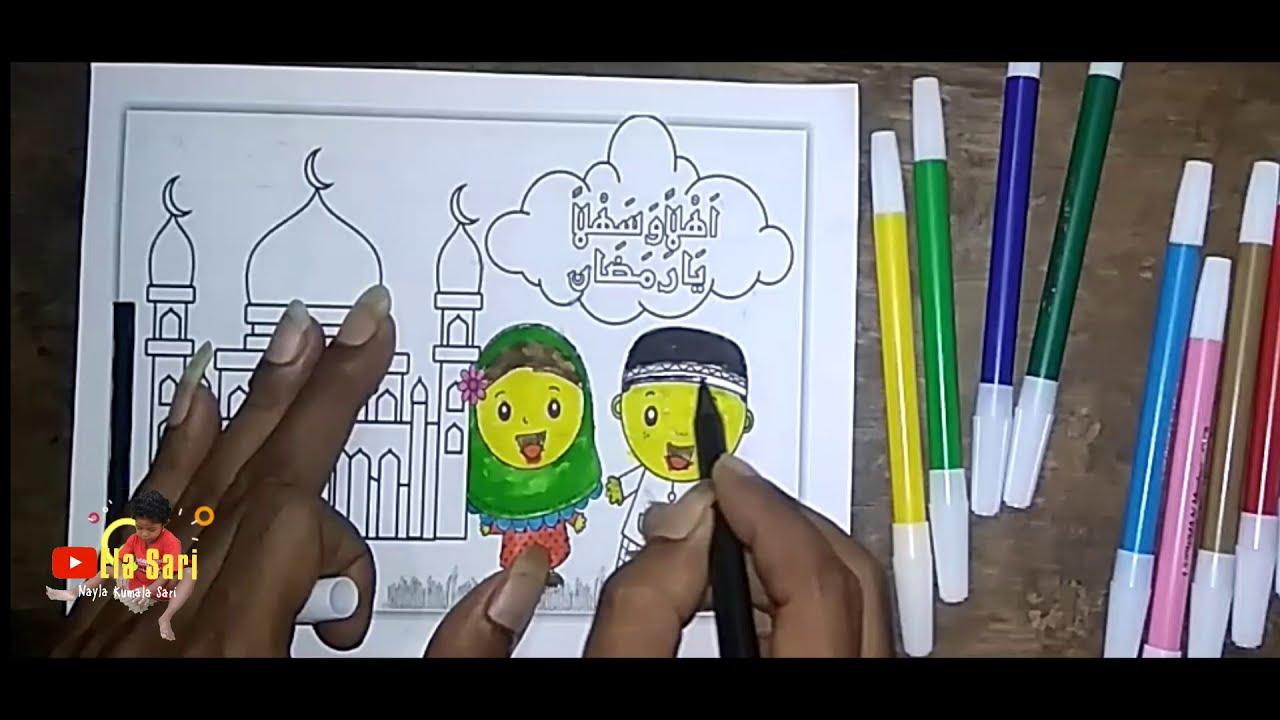 Mewarnai Gambar Bertemakan Bulan Suci Ramadhan Mudah Dan Sederhana Buat Anak Belajar Mewarnai