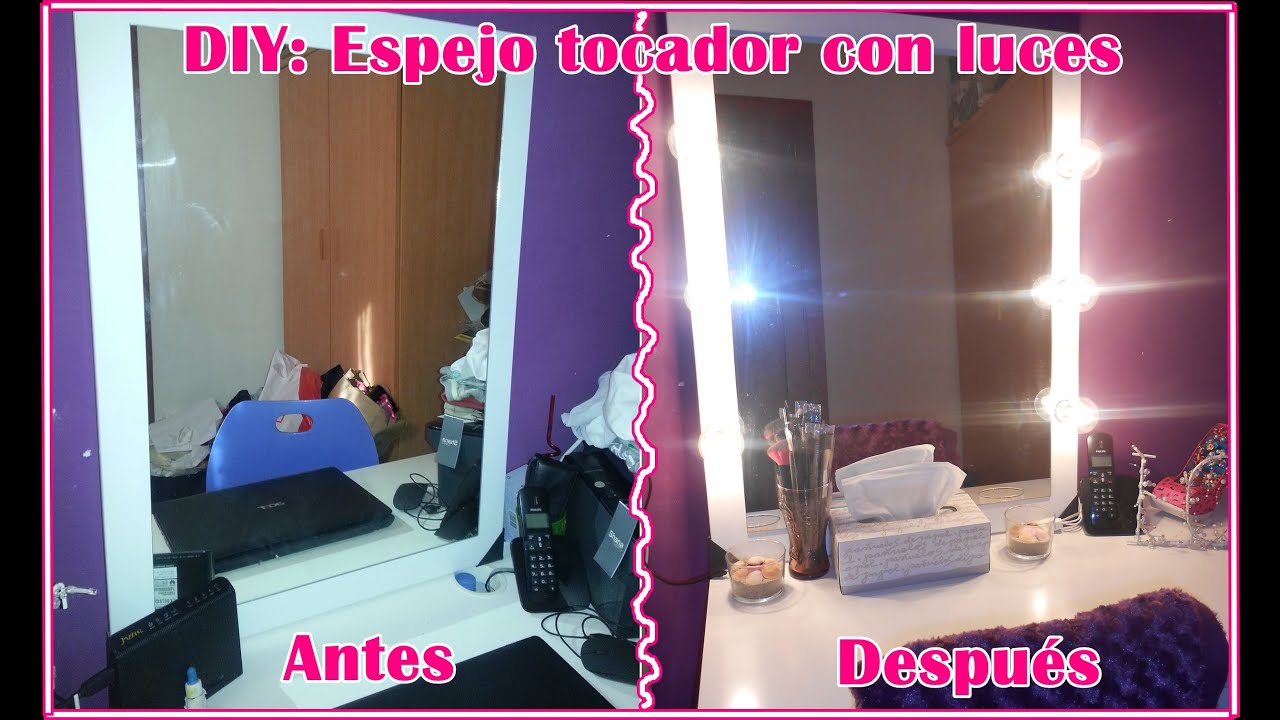 Diy espejo tocador con luces vanity mirror with lights for Espejo tocador con luz