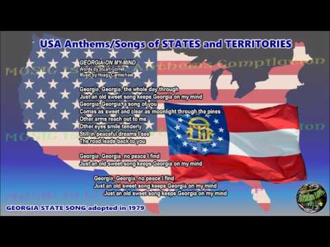 Georgia State Song GEORGIA ON MY MIND with music, vocal and lyrics