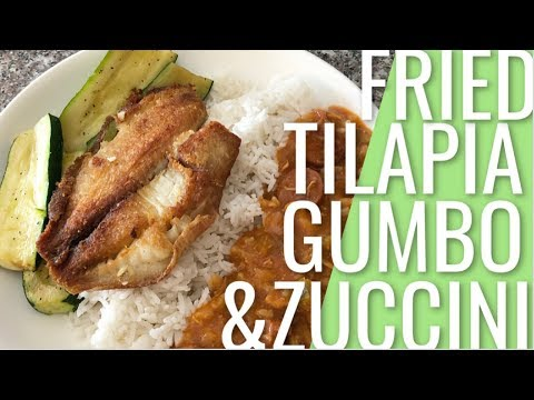 Tilapia Gumbo With Salt & Pepper Zuccini Plate Dinner | Pier 76 Fish Grill Dupe!