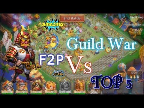 Guild War F2P Ronin Vs Top 5 Base AMAZING PK! Castle Clash