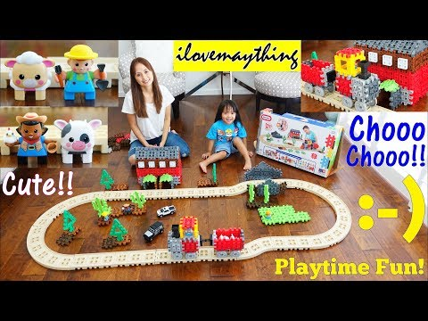 Kids' Toy Channel: Toy Train! Little Tikes Waffle Blocks Steam Engine Train Unboxing and Playtime!