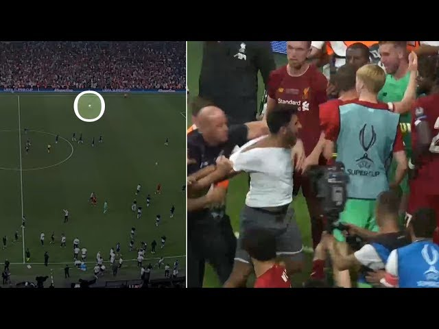 Crazy moment Liverpool goalkeeper Adrian INJURED by pitch-invading fan!   2019 UEFA Super Cup